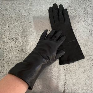 Fownes Black Long Leather Gloves Size 7